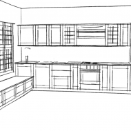 Black&White sketch of kitchen
