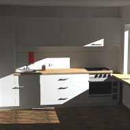 Kitchen visualization with natural lighting
