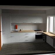 Photorealistic view of kitchen furniture
