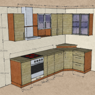 Kitchen sketch with dimensions