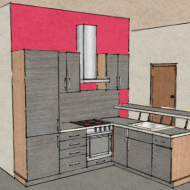 Colorful kitchen sketch