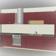 Red kitchen drawing